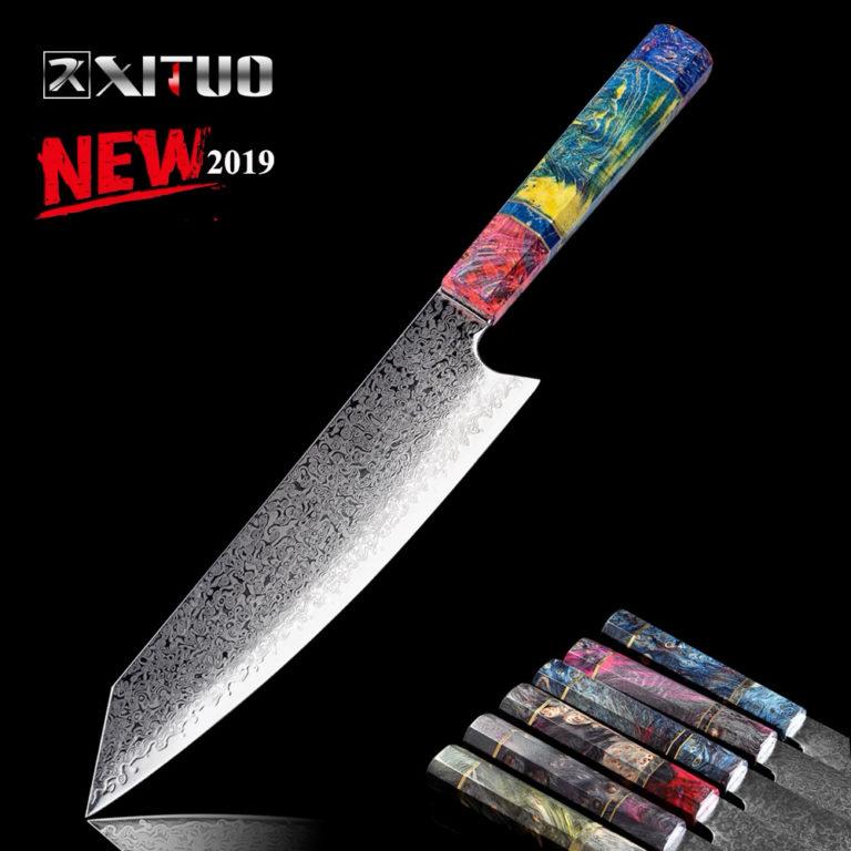 Niji light nakiri damascus knife