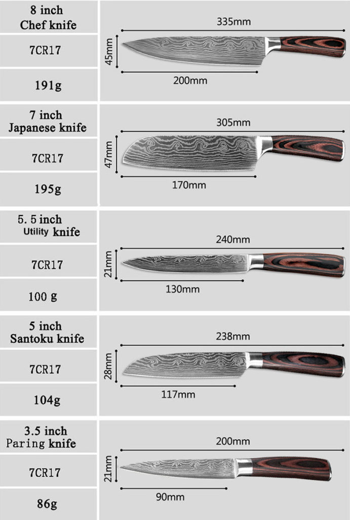knives sizes